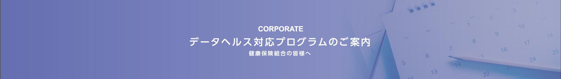 データヘルス対応プログラムのご案内 健康保険組合の皆様へ -CORPORATE-